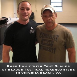 Robb Hamic with Tony Blauer at Blauer Tactical Systems headquarters in Virginia Beach, VA